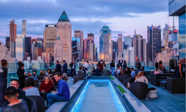 A roooftop bar in New York