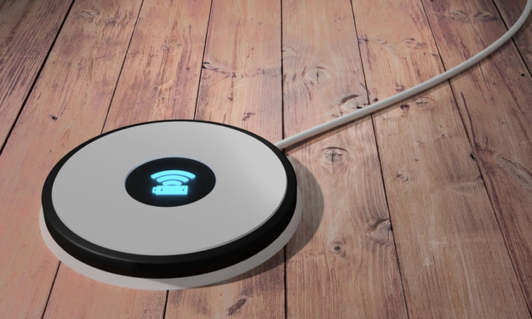 Wireless Charging pad on wooden floor