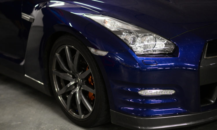 Blue Nissan car