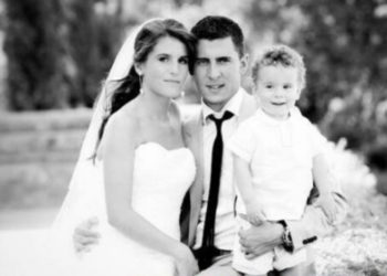 Wedding photo of soccer player Eden Hazard and his wife Natacha Van Honacker