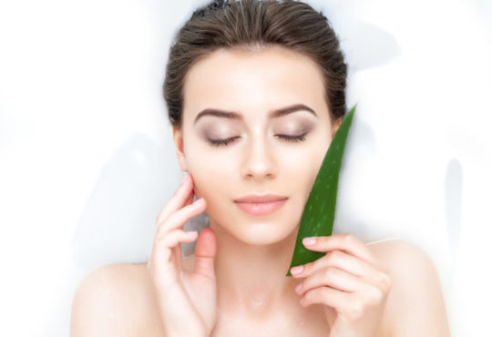 Young woman holding an aloe vera plant to her face