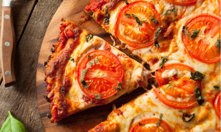 close up of vegan pizza with cauliflower crust