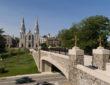 photo of Villanova University with bridge and ancient church