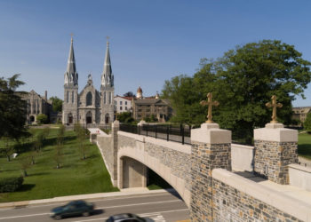 photo of Villanova University with bridge and ancient church