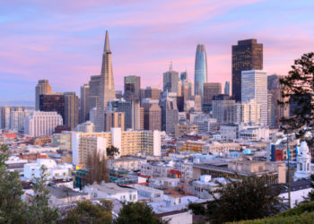 San Francisco Skyline in Pink and Blue Skies.