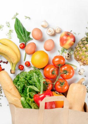 bag of fruit, vegetables and groceries symbolizing meal kit delivery services